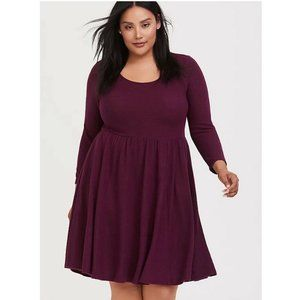 Torrid Plush Babydoll Dress Size 0 Burgundy